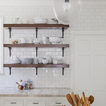 Cream And White Kitchen With Wood And Iron Shelves