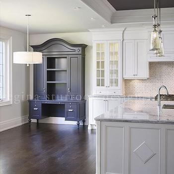 dark gray painted kitchen tray ceiling lined with mercury glass pendants transitional kitchen. Black Bedroom Furniture Sets. Home Design Ideas