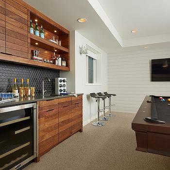 Superbe Game Room Wet Bar With Black Hex Tile Backsplash