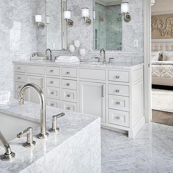 Gray Bathroom With Gray Chevron French Settee Contemporary Bathroom