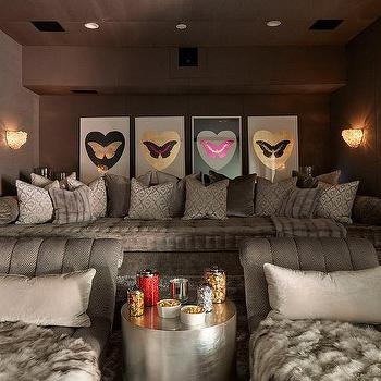 Gray Hollywood Regency Style Movie Room
