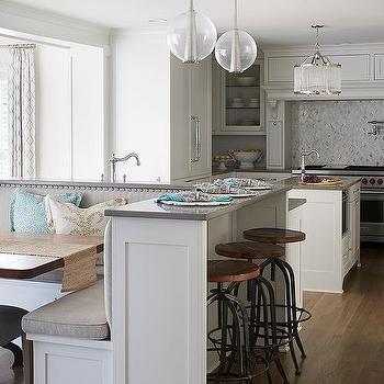Alyssa rosenheck white quartz kitchen island with white for Kitchen island booth