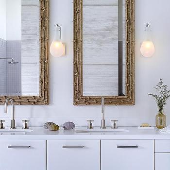 Modern Coastal Bathroom With Woven Mirrors