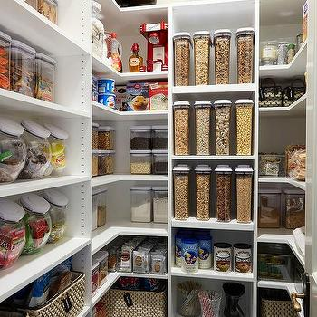 Super Organized Pantry With Labeled Jars Transitional Kitchen