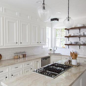 White Kitchen Cabinets With Cream Quartzite Countertops