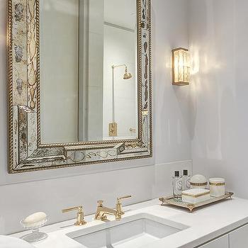white and gold bathroom ideas antiqued mirrored bathroom vanity with white marble top 24601