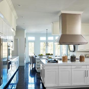 White Kitchen With Glossy Black Floors