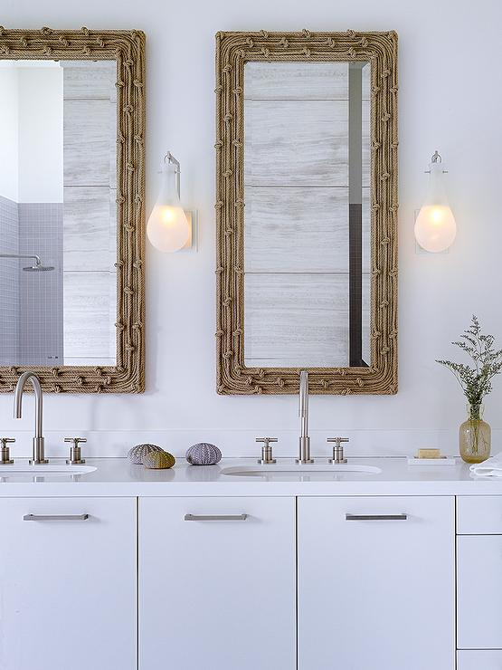 Modern Coastal Bathroom With Woven Mirrors