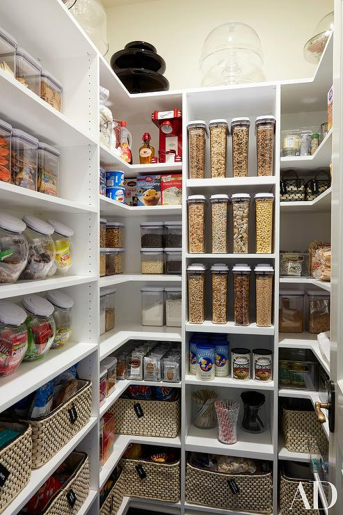 Organized Pantry with Woven Bins & Organized Pantry with Woven Bins - Transitional - Kitchen
