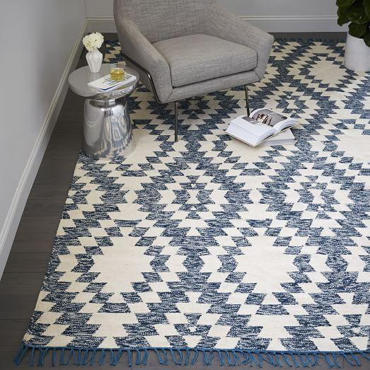 Blue and White Palmette Chenille Wool Kilim Rug