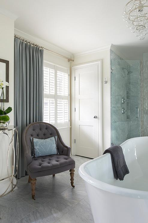 Blue And Purple Master Bathroom: Spa Bathroom With Purple Tufted Chair With Blue Damask