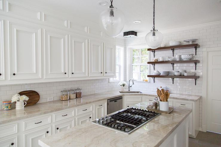White And Cream Kitchen With Taj Mahal Counters