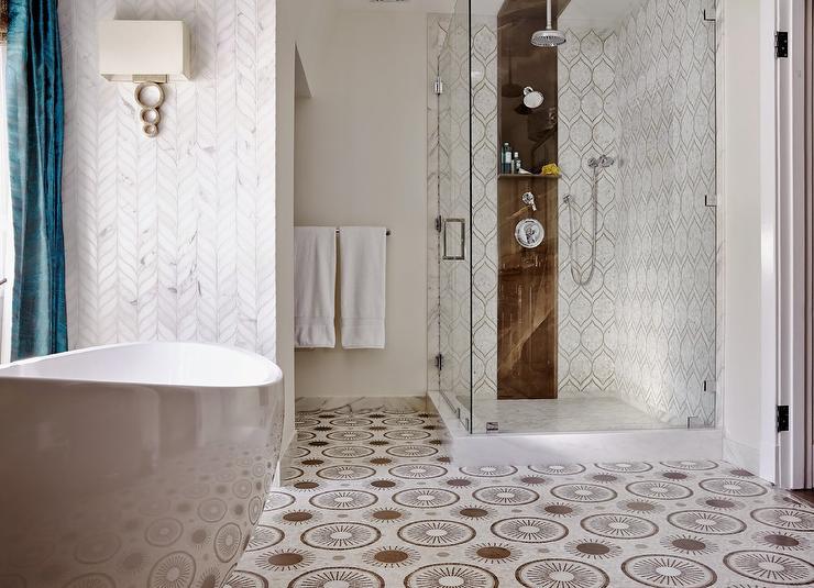 Walker Zanger Tangent Chevron Tiles Contemporary Bathroom