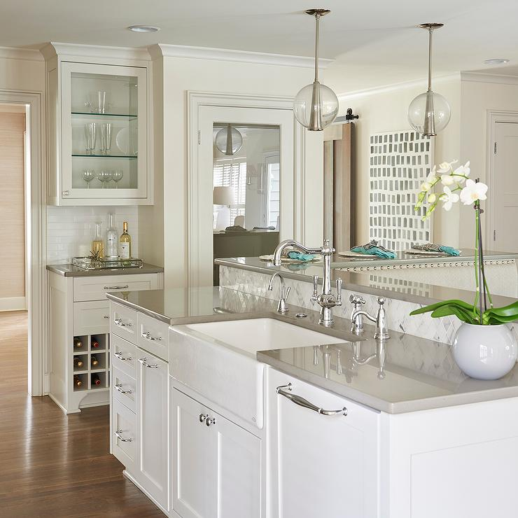 White kitchen island with gray quartz countertop and arteriors white kitchen island with gray quartz countertop and arteriors caviar pendants aloadofball Images