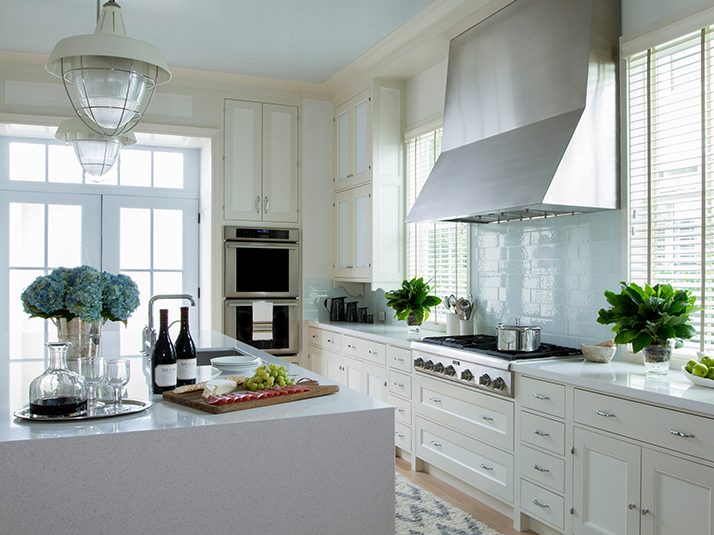 Cream Kitchen Cabinets With Blue Tile Backsplash