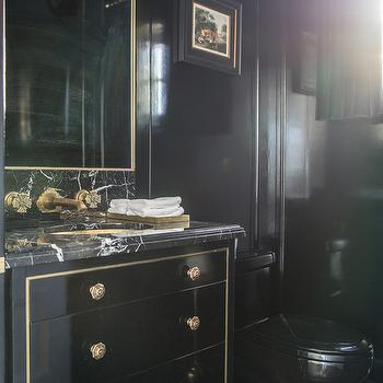 Glossy Black Lacquered Washstand With Gold Trim And Marble Countertop