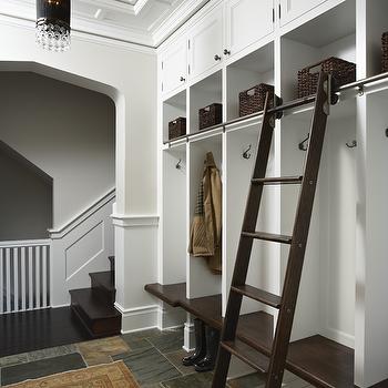 Monogrammed Mudroom Lockers Transitional Laundry Room