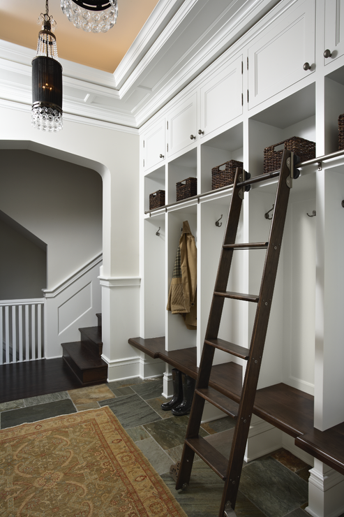 Open mudroom lockers with ladder on rails transitional for Open lockers for mudroom