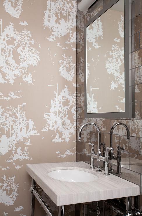 Black Floral Wallpaper Contemporary Bathroom Kishani