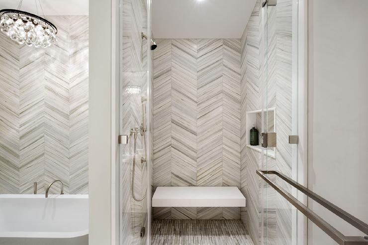 White and Gray Chevron Shower Tiles with Floating Shower Bench - Contemporary - Bathroom