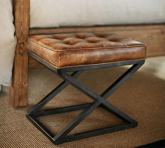 Admirable Brown Kirkham Tufted Leather X Base Stool Beatyapartments Chair Design Images Beatyapartmentscom