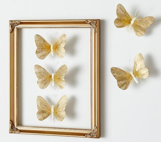 sc 1 st  Decorpad & Gold Feather Butterflies Set