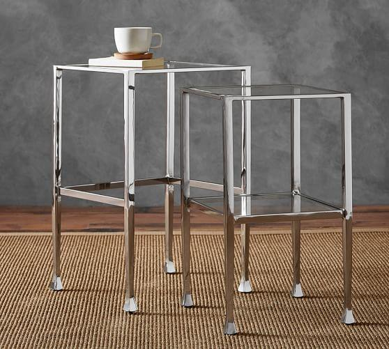 Glass And Silver Tanner Nesting Side Tables