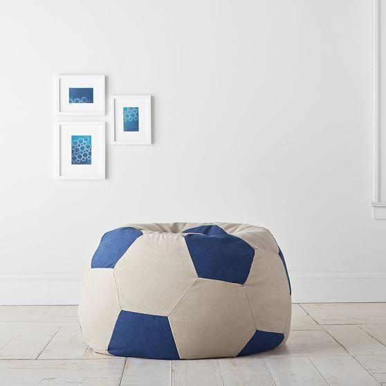 Groovy Blue And Beige Soccer Ball Beanbag Ocoug Best Dining Table And Chair Ideas Images Ocougorg