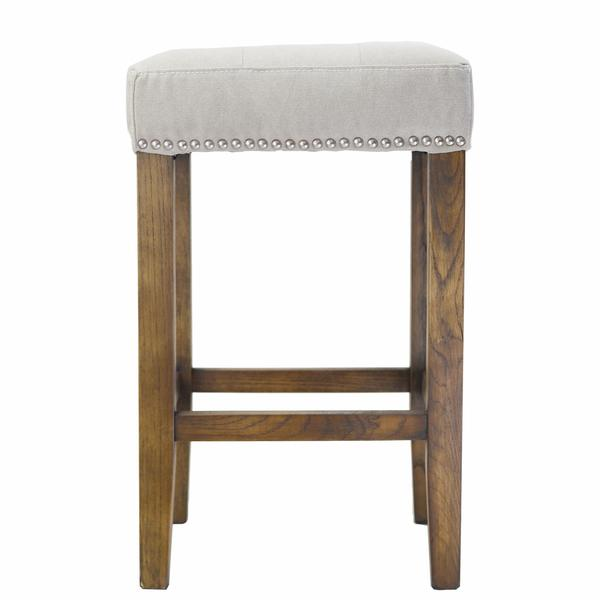 Grey Ash Counter Stool With Silver Nailheads