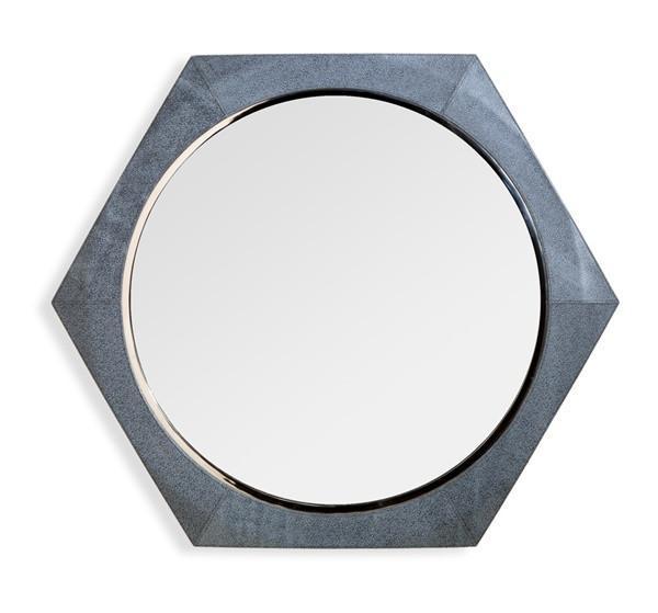 Hexagon Rustic Black And Brass Metal Mirror