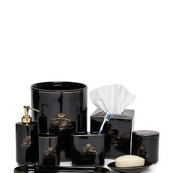 Black Famous Maker Le Bain Bathroom Collection Gold Scored Ceramic Set