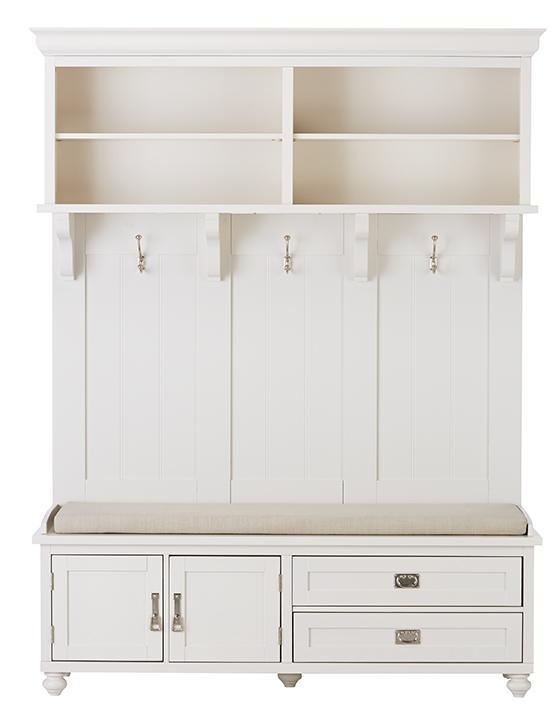 White Wood Bench Mudroom Storage