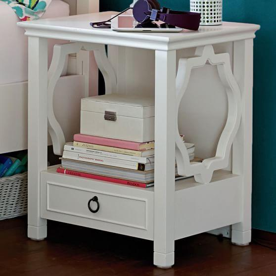 Round White Bedside Table