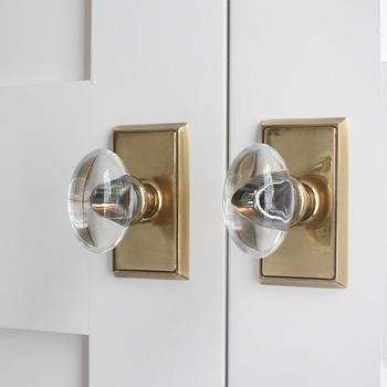 White Pantry Doors With Brass And Glass Door Knobs