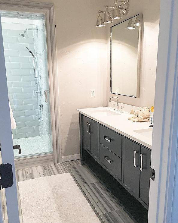 Transitional Bathroom Wall Sconces charcoal gray dual vanity with barbara cosgrove library three