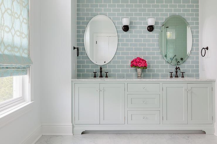 Pale Gray Dual Washstand With Ann Sacks Capriccio Field Tile Sky