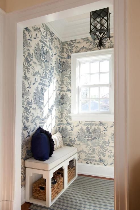 Mudroom With Lee Jofa Willow Pattern Chinoiserie Blue Wallpaper