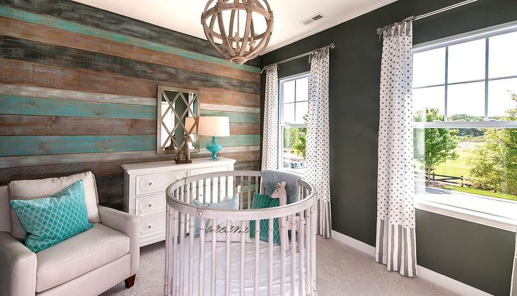 Turquoise Blue And Gray Nursery Design With Round Crib