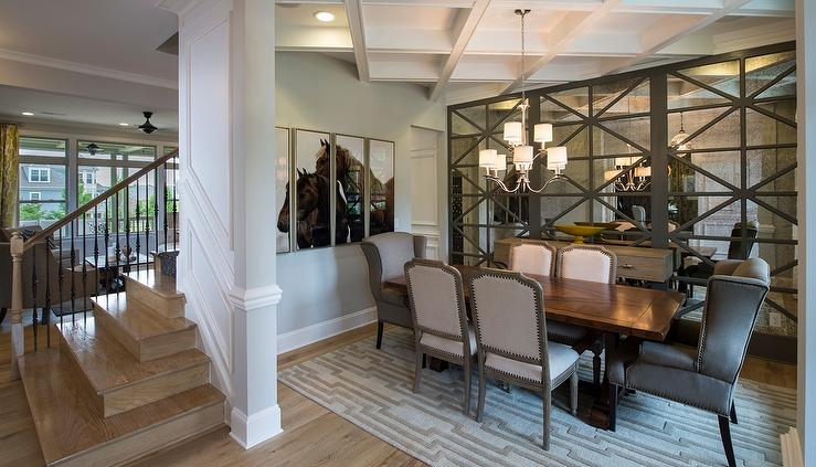 Gray Dining Room With Floor To Ceiling Antiqued Mirrored