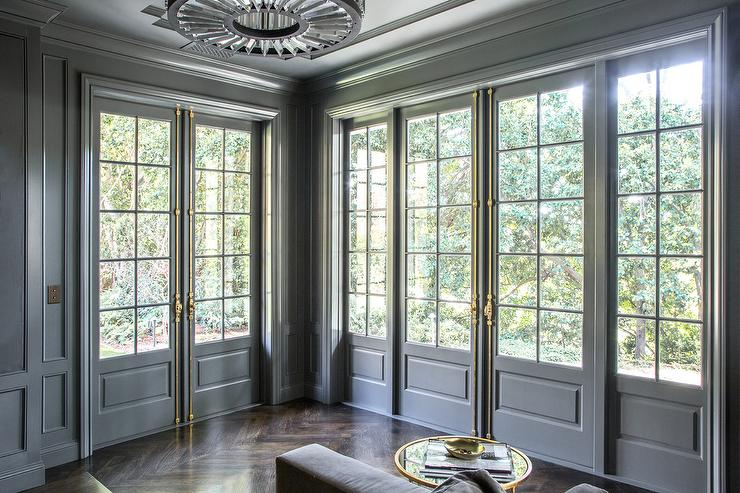 Gray French Doors With Brass French Casement Hardware