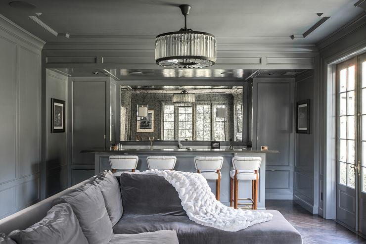 Gray Living Room With Gray Built In Bar And Antiqued