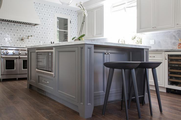 Ivory And Gray Kitchen With Wide Plank Wood Floor