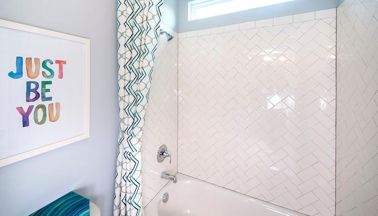 Kids Bathroom With Herringbone Shower Tiles