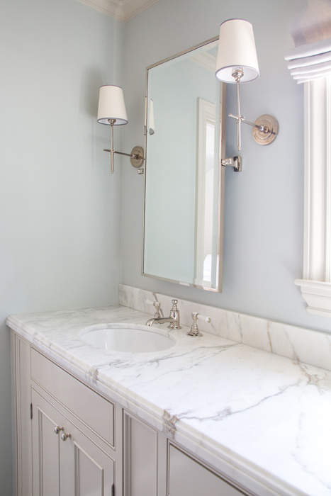 Marvelous Light Gray Bathroom Vanity With Pale Blue Walls