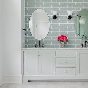 Sky blue bathroom vanity design ideas pale gray dual washstand with ann sacks capriccio field tile sky blue aloadofball Images