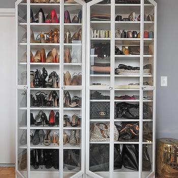 Freestanding Glass Front Shoe Cabinets Design Ideas