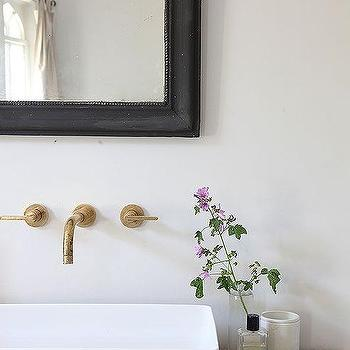 Reclaimed Wood Sink Vanity With Vessel Sink And Aged Brass Faucet