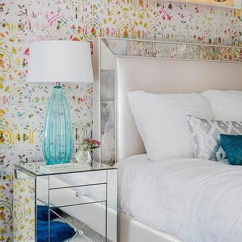 Teen Girls Bedroom With Mirror Framed Headboard