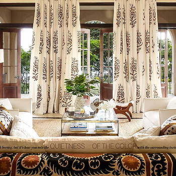White And Brown Medallion Curtains For A Wall Of French Doors Transom Windows