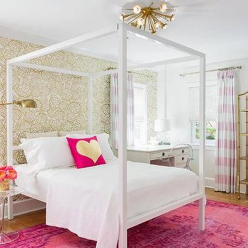 white canopy bed with pink and gold metallic heart pillow contemporary girl 39 s room. Black Bedroom Furniture Sets. Home Design Ideas
